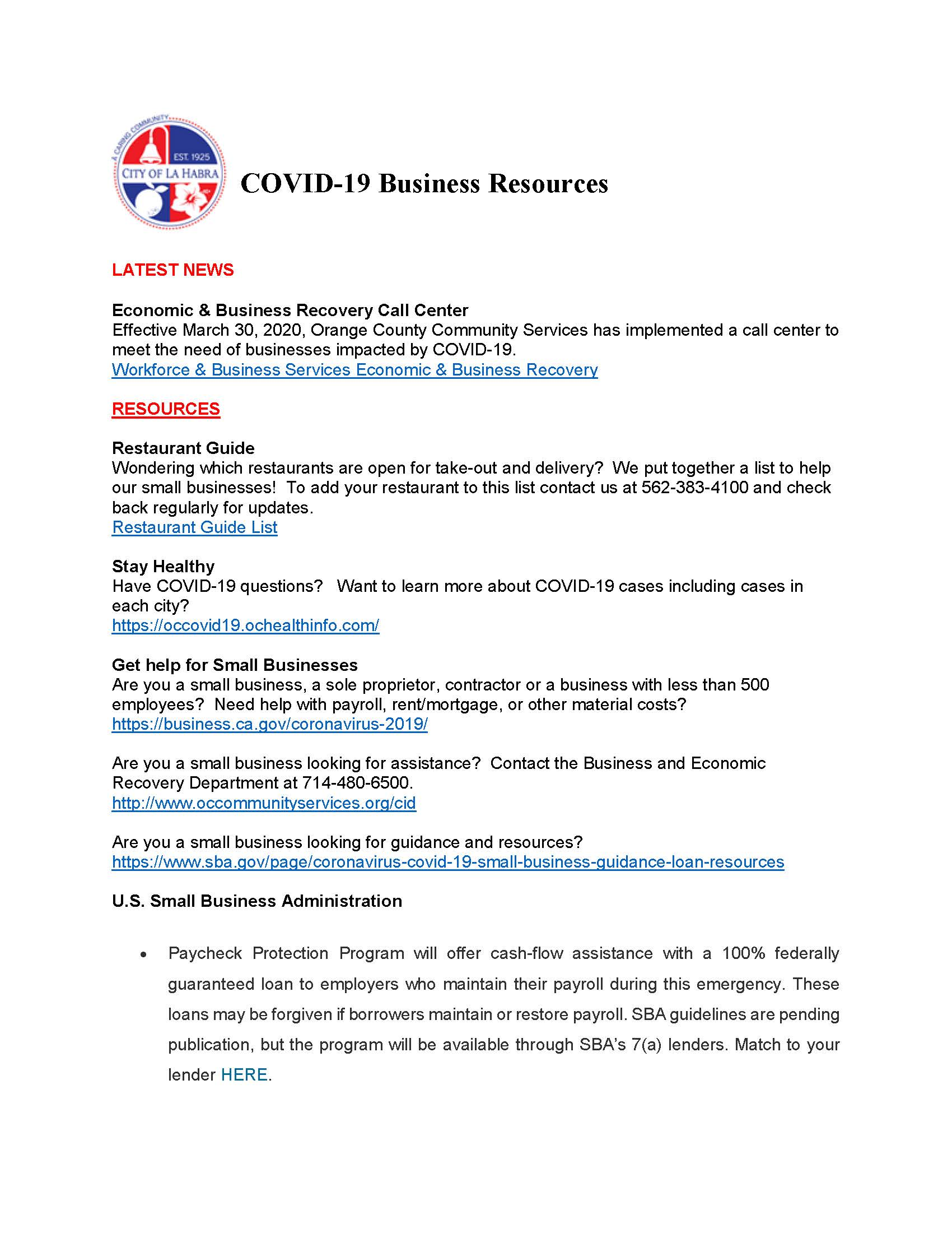 COVID-19 Business Resources PDF