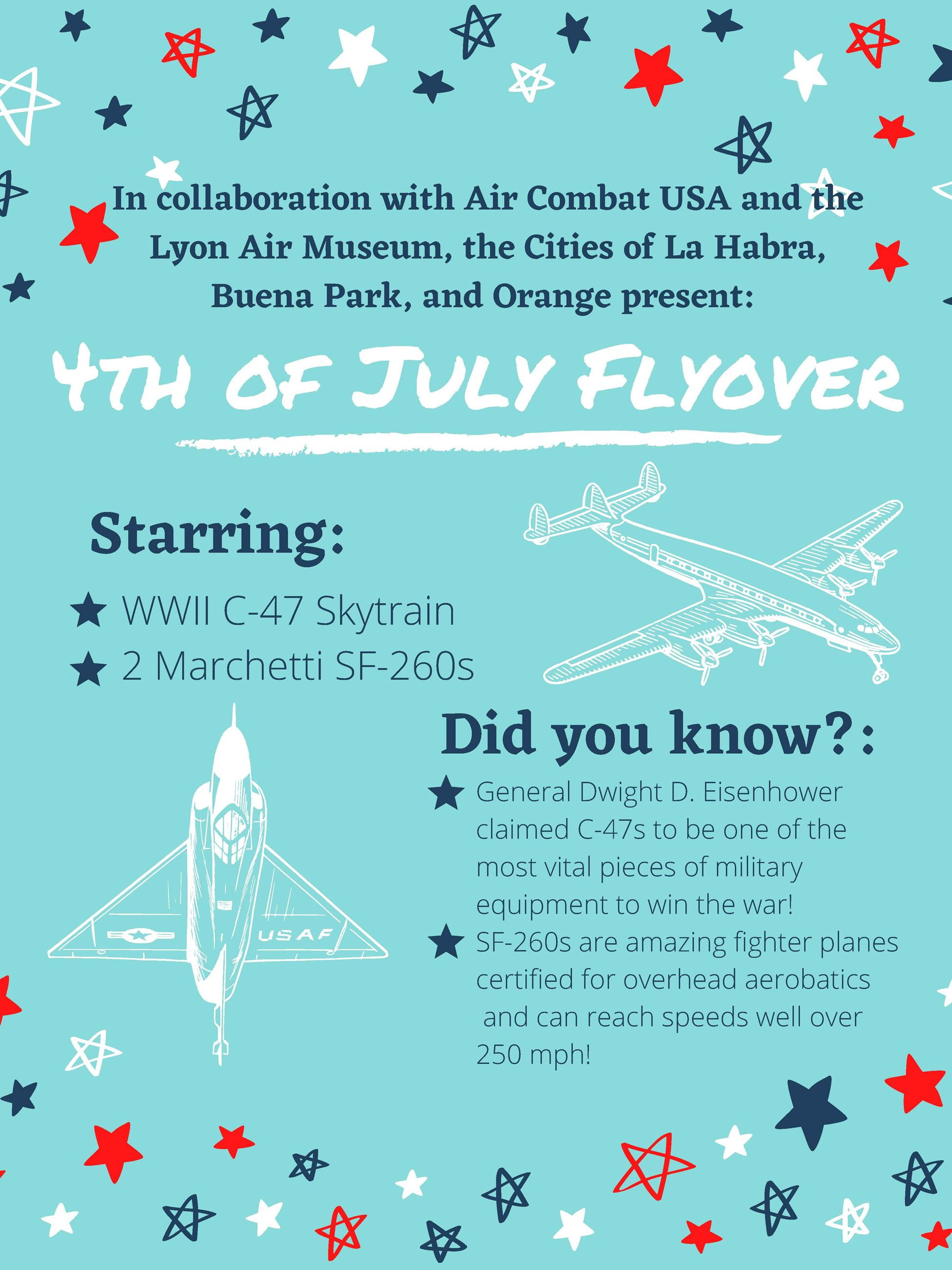 Tells about the airplanes that will be doing a flyover above La Habra on 4th of July 2020